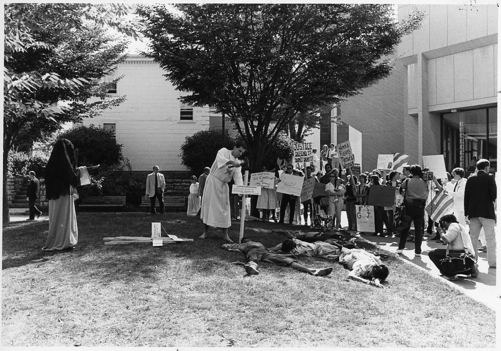 Protest against Edwin Meese, 1985