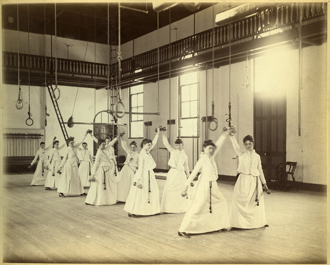 Physical education class for women, 1888