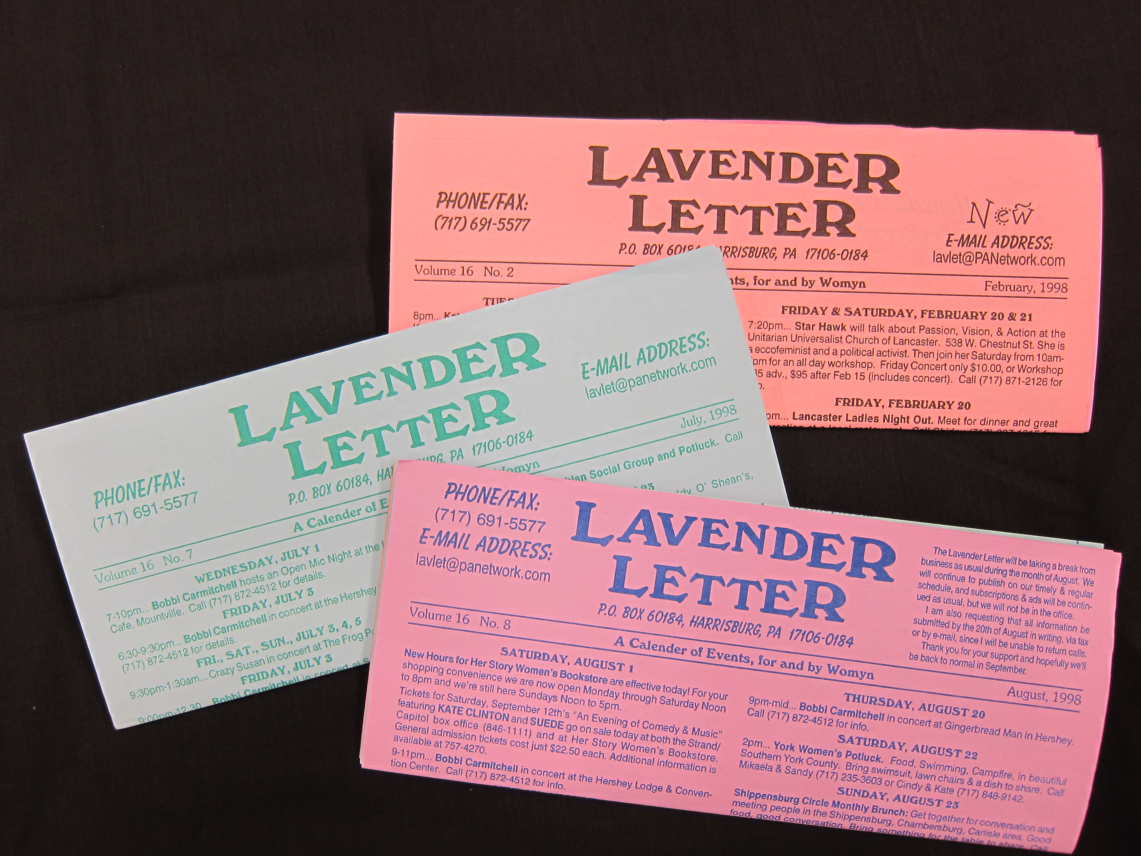 Issues of the Lavender Letter newsletter (Harrisburg, PA) from 1998.
