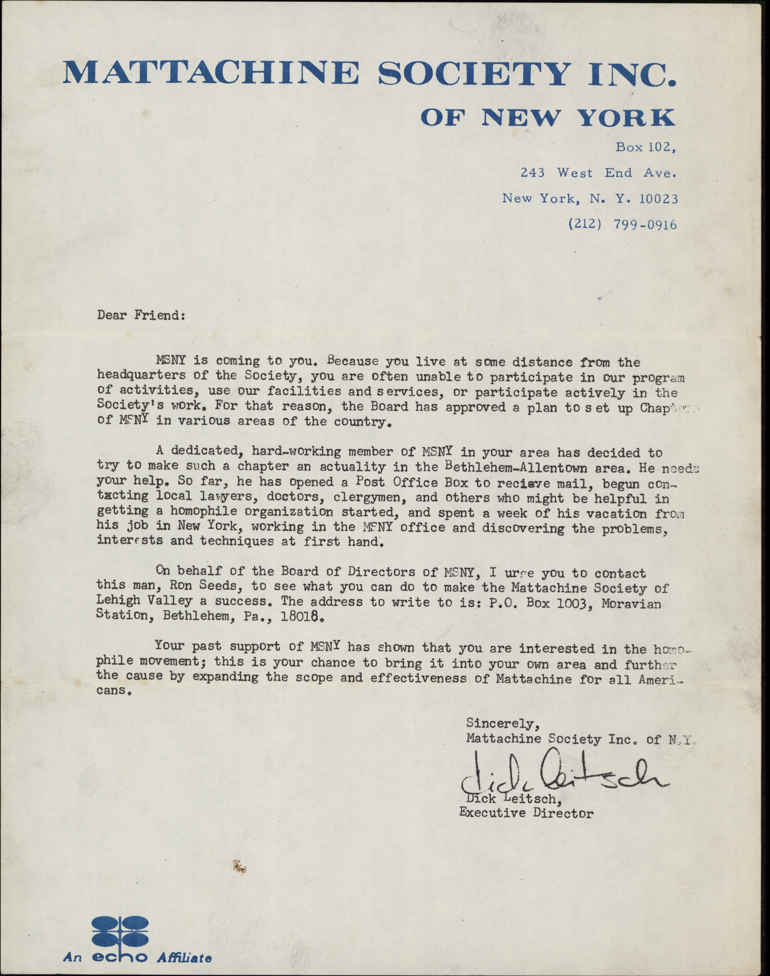 Letter sent to Joe Burns in 1969 from the Mattachine Society of New York in an attempt to establish a gay activist organization in the Lehigh Valley area.