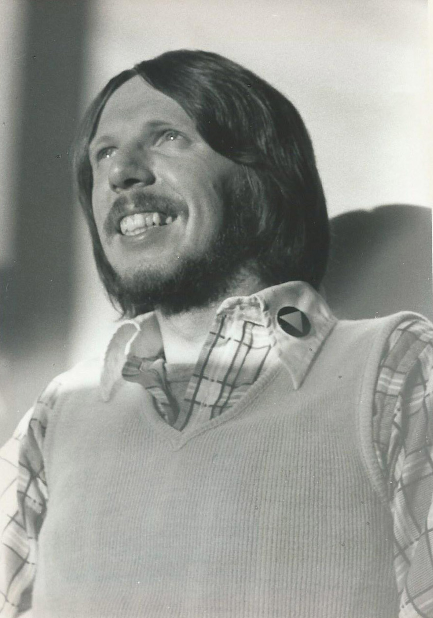 Sam Deetz on Gay Education Day in Harrisburg, wearing Pink Triangle button, March 1976.  Photo by Bari Lee Weaver.