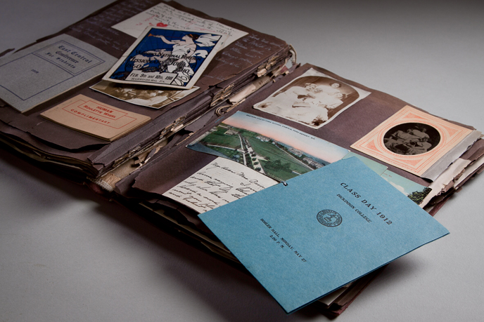 Scrapbook created by Anna M. Bacon in 1909 to document her junior year at Dickinson (Image courtesy of Dickinson College/Carl Sander Socolow)