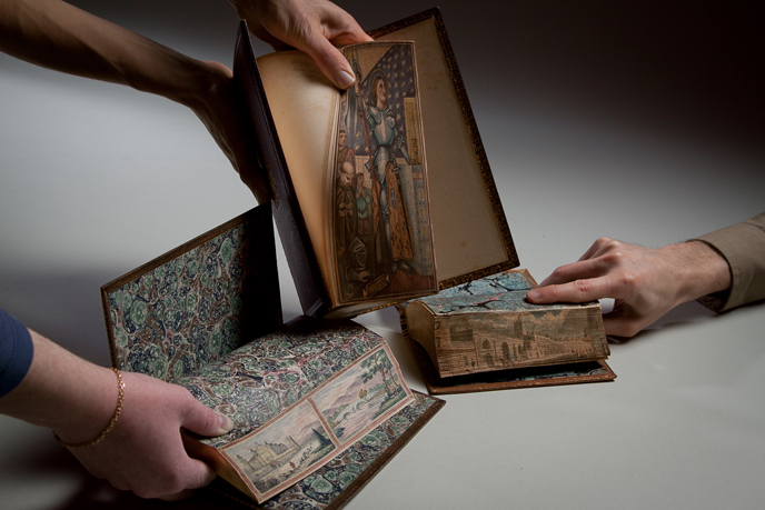 Books decorated with fore-edge paintings (Image courtesy of Dickinson College/Carl Sander Socolow)