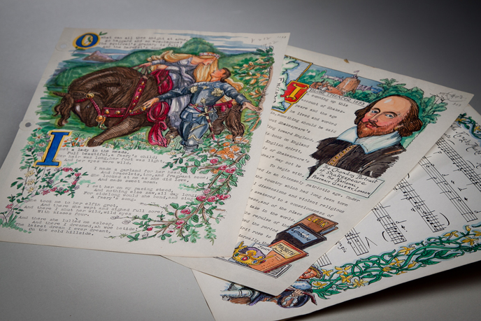 "Pages from ""The Spirit of Britain"" manuscript, written and illustrated by Montagu Frank Modder, a visiting professor to Dickinson in the 1950s (Image courtesy of Dickinson College/Carl Sander Socolow)"