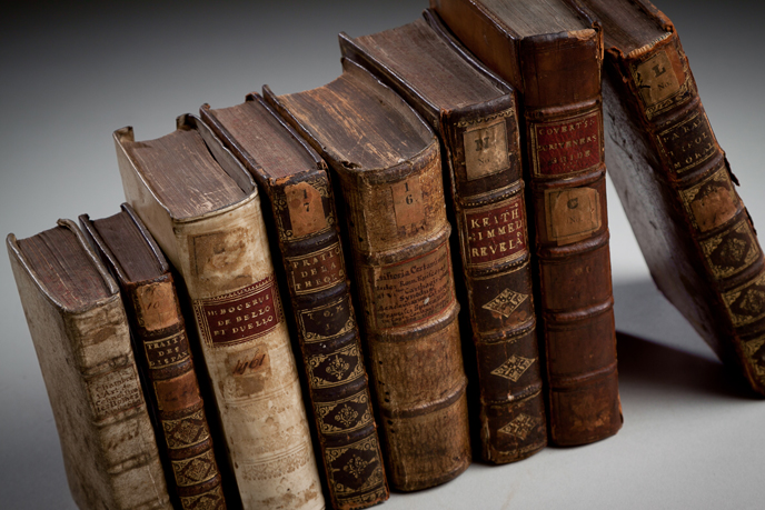 Books from the Isaac Norris Collection, donated to the college by Mary and John Dickinson (Image courtesy of Dickinson College/Carl Sander Socolow)