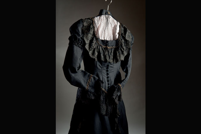 Dress worn by Zatae Longstorff, Dickinson's first female graduate, when she won the Junior Oratorial Contest in 1886 (Image courtesy of Dickinson College/Carl Sander Socolow)