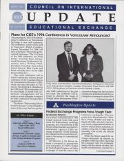Council on International Educational Exchange Update Newsletter March 1994