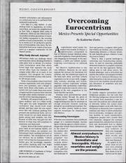 """""""Overcoming Eurocentrism: Mexico Presents Special Opportunities,"""" by Katherine Krebs"""
