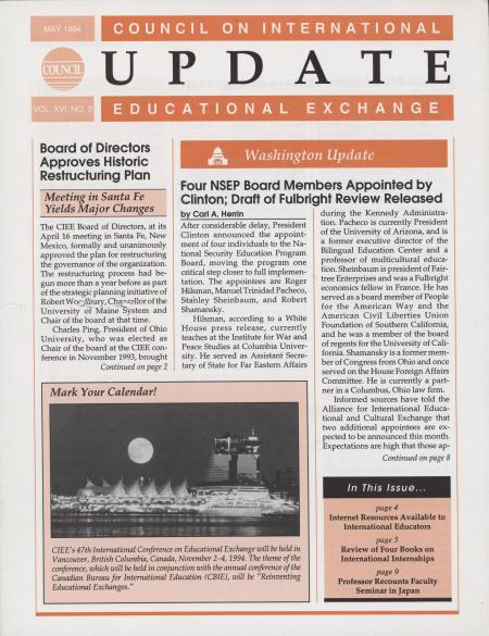 Council on International Educational Exchange Update Newsletter May 1994