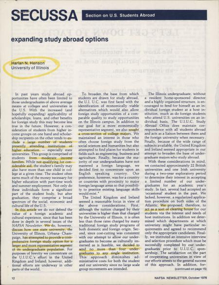 Section on US Students Abroad (SECUSSA): Expanding Study Abroad Options