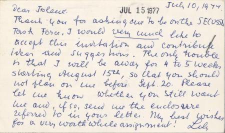 Letter from Lily Von Klemperer to Jolene Koester