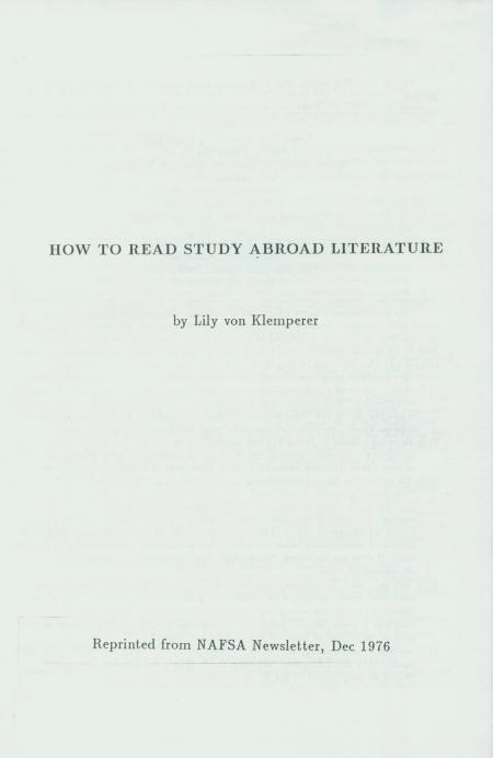 """""""How to Read Study Abroad Literature,"""" by Lily von Klemperer"""