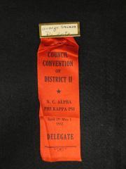 Phi Kappa Psi Convention Pin and Ribbon, 1937
