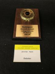College Debate on Energy Plaque and Name Tag, c.1988
