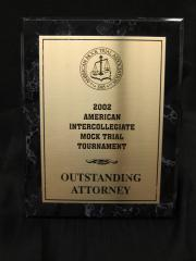 Mock Trial plaque, 2002