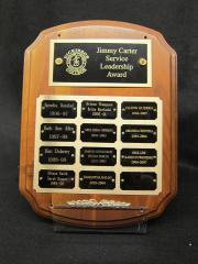 Jimmy Carter Service Leadership Award plaque, 1996-2007