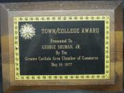 Town/College Award Plaque, 1977