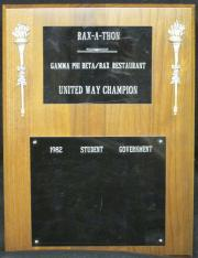 Rax-A-Thon United Way Champion Plaque, 1982