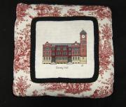 Cross Stitched Pillow of Denny Hall, c.1960