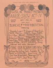 """Altland's Ranch """"Aphrodisiactic April Acts of Kindness [AAOK] Show: Act IV"""" Poster: Part 1 - April 27, 1991"""