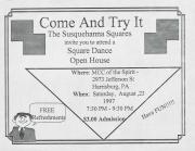 """Altland's Ranch """"Come and Try It: The Susquehanna Squares"""" Poster - August 23, 1997"""