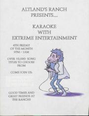 "Altland's Ranch ""Karaoke with Extreme Entertainment"" Poster - circa 2000"
