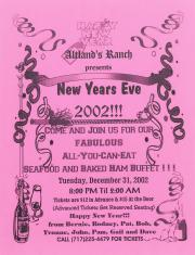 """Altland's Ranch """"New Year's Eve Buffet"""" Poster - December 31, 2002"""