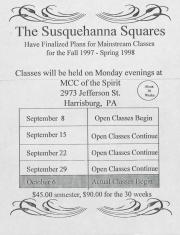 """Altland's Ranch """"The Susquehanna Squares"""" Poster - Fall 1997 to Spring 1998"""