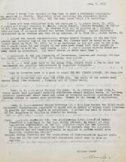 Letter to St. Mary Magdalen Parish from William James - October 7, 1971