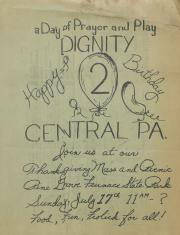 Dignity/Central PA, Thanksgiving Mass and Picnic Flyer - July 17, 1977