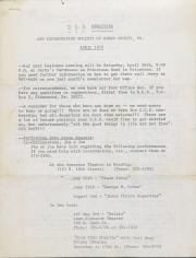 Gay Coordinating Society of Berks County, Reading (GCS Berks) Newsletter - April 1975
