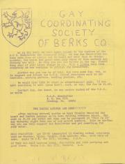 Gay Coordinating Society of Berks County, Reading (GCS Berks) Newsletter - February 1976