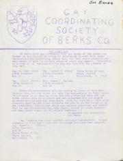 Gay Coordinating Society of Berks County, Reading (GCS Berks) Newsletter - April 1976