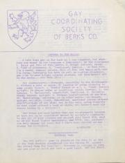 Gay Coordinating Society of Berks County, Reading (GCS Berks) - July 1976