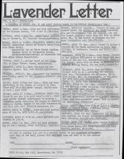 Lavender Letter (Harrisburg, PA) - April 1983