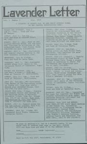 Lavender Letter (Harrisburg, PA) - July 1983