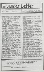 Lavender Letter (Harrisburg, Pa) - August 1983