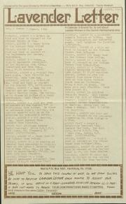 Lavender Letter (Harrisburg, PA) - August 1984