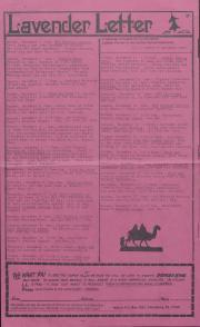 Lavender Letter (Harrisburg, PA) - December 1984