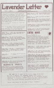 Lavender Letter (Harrisburg, PA) - February 1985