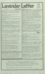 Lavender Letter (Harrisburg, PA) - April 1985