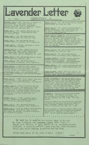Lavender Letter (Harrisburg, PA) - July 1985