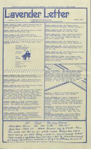 Lavender Letter (Harrisburg, PA) - August 1985