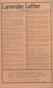 Lavender Letter (Harrisburg, PA) - October 1985