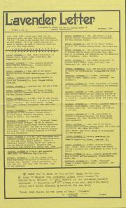 Lavender Letter (Harrisburg, PA) - November 1985