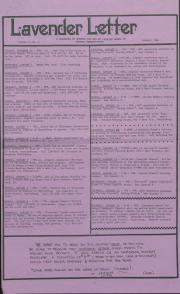 Lavender Letter (Harrisburg, PA) - January 1986
