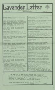 Lavender Letter (Harrisburg, PA) - March 1986
