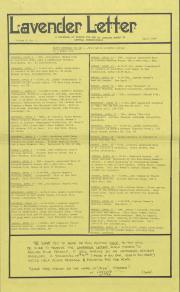Lavender Letter (Harrisburg, PA) - April 1986