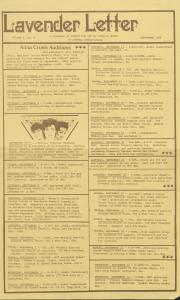 Lavender Letter (Harrisburg, PA) - September 1986