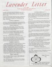 Lavender Letter - February 1992